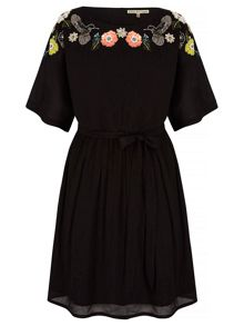Yumi Floral Skater Dress With Embellishments