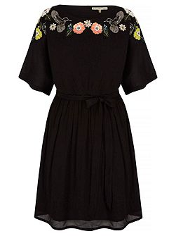 Floral Skater Dress With Embellishments