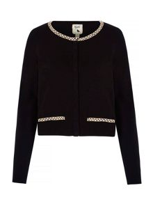 Yumi Cropped Cardigan With Diamante Chain
