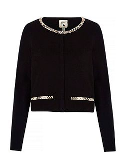 Cropped Cardigan With Diamante Chain