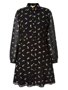 Yumi Gold Feather Printed Shirt Dress