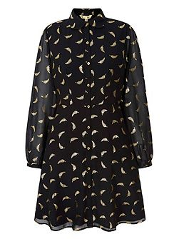 Gold Feather Printed Shirt Dress