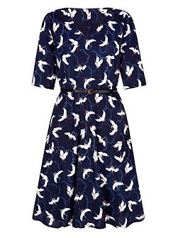 Skater Dress With Japanese Crane Print