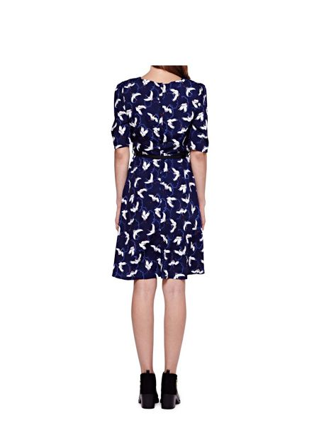Yumi Skater Dress With Japanese Crane Print