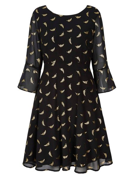 Yumi Gold Feather Printed Skater Dress