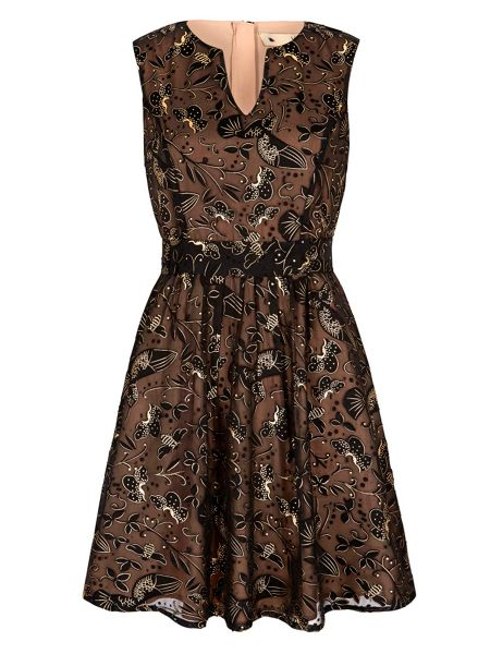 Yumi Gold Bird Printed Party Dress