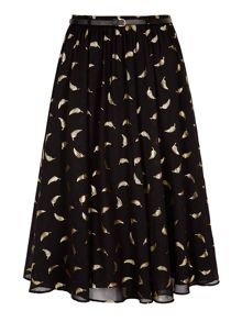 Yumi Midi Skirt With Gold Feather Print
