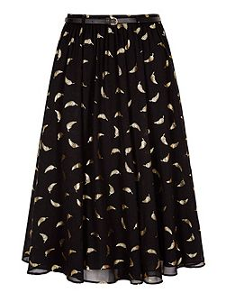 Midi Skirt With Gold Feather Print