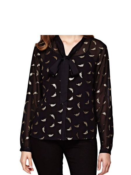 Yumi Gold Feather Printed Blouse