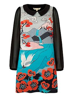 Japanese Crane Printed Shift Dress With Collar