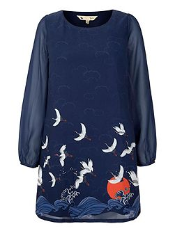 Japanese Crane Printed Shift Dress