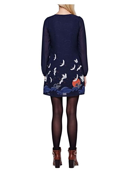 Yumi Japanese Crane Printed Shift Dress
