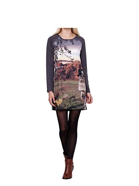 Yumi Jersey Tunic Dress With Owl Print