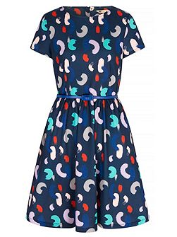 Brush Stroke Printed Skater Dress