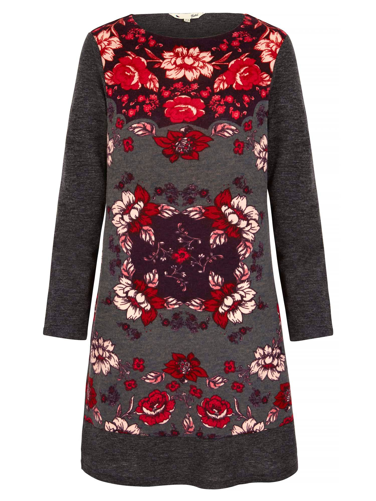 Yumi Rose Printed Knitted Tunic Dress Grey