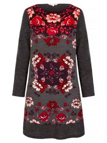 Yumi Rose Printed Knitted Tunic Dress