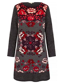 Rose Printed Knitted Tunic Dress