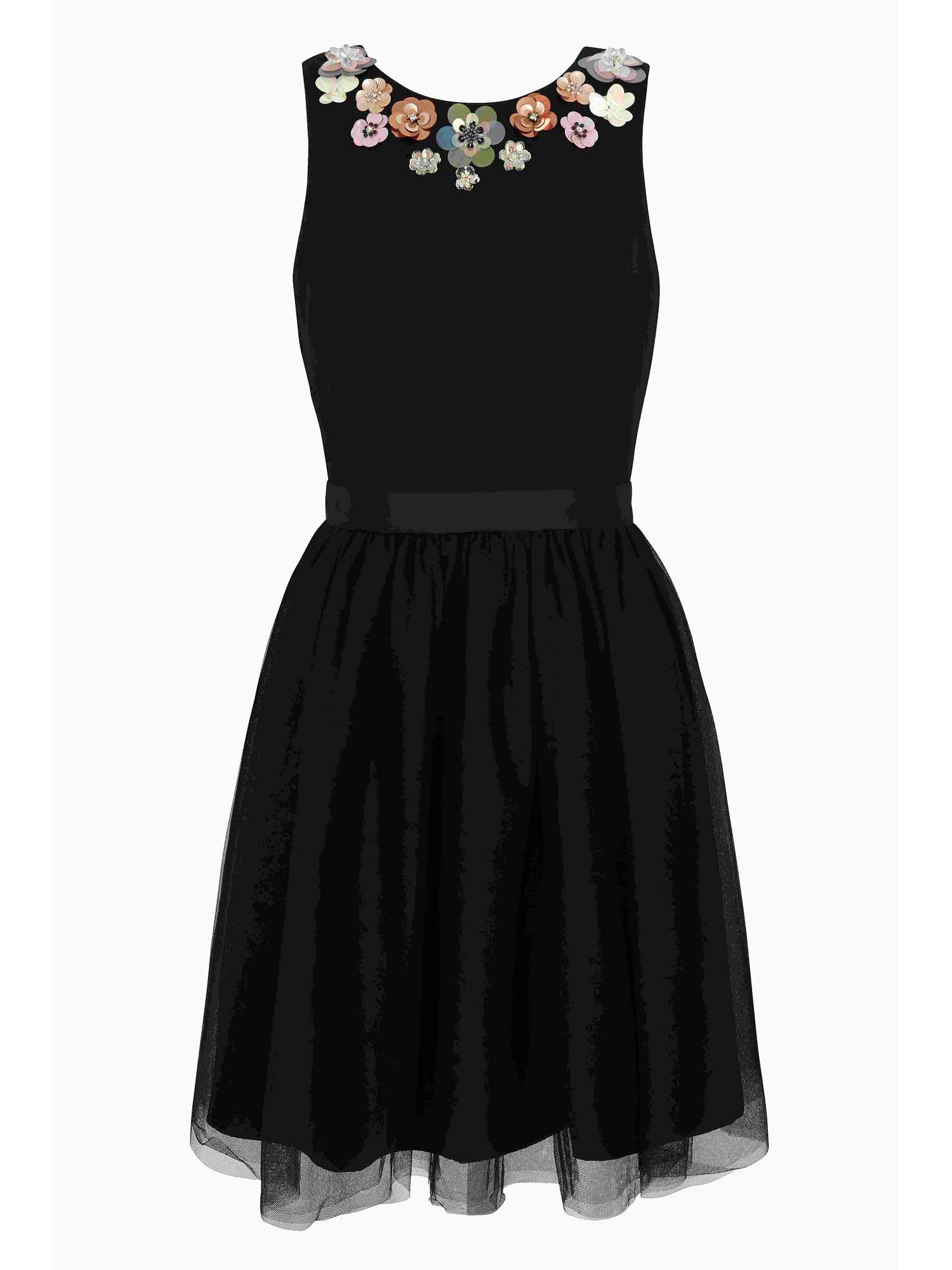Yumi Floral Embellishment Prom Dress, Black
