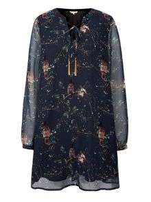 Yumi Owl Printed Tunic Dress
