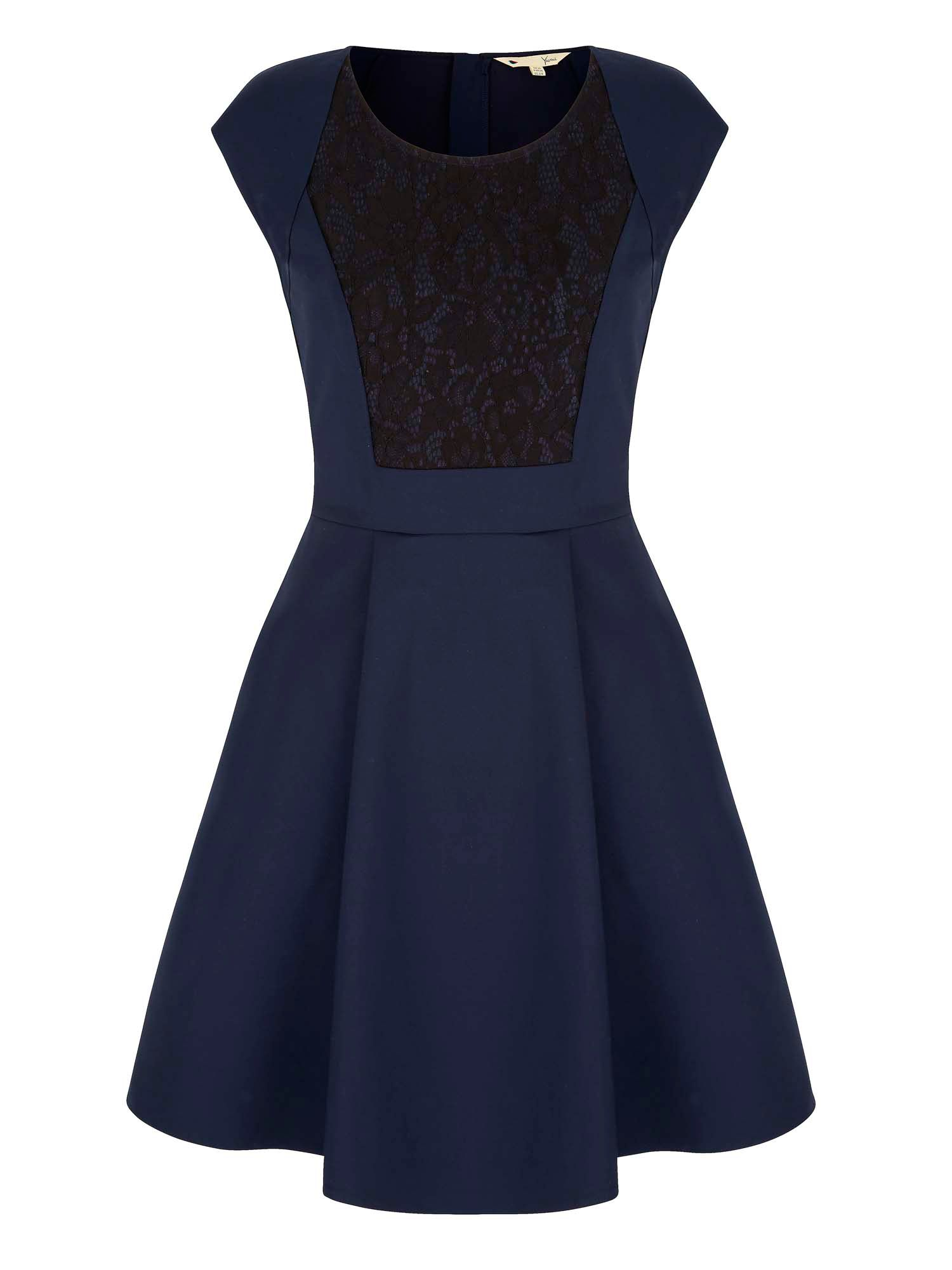 Yumi Lace Detail Skater Dress, Blue