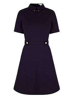 Navy Shirt Dress With Buttons
