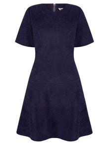 Yumi Suedette Fit & Flare Dress