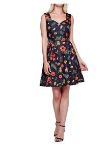 Yumi Floral Printed Textured Skater Dress