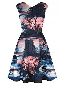 Sunset Printed Party Dress