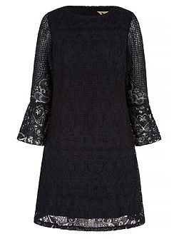 Lace Shift Dress With Flared Sleeves