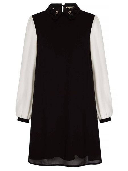 Yumi Beaded Shift Dress With Collar