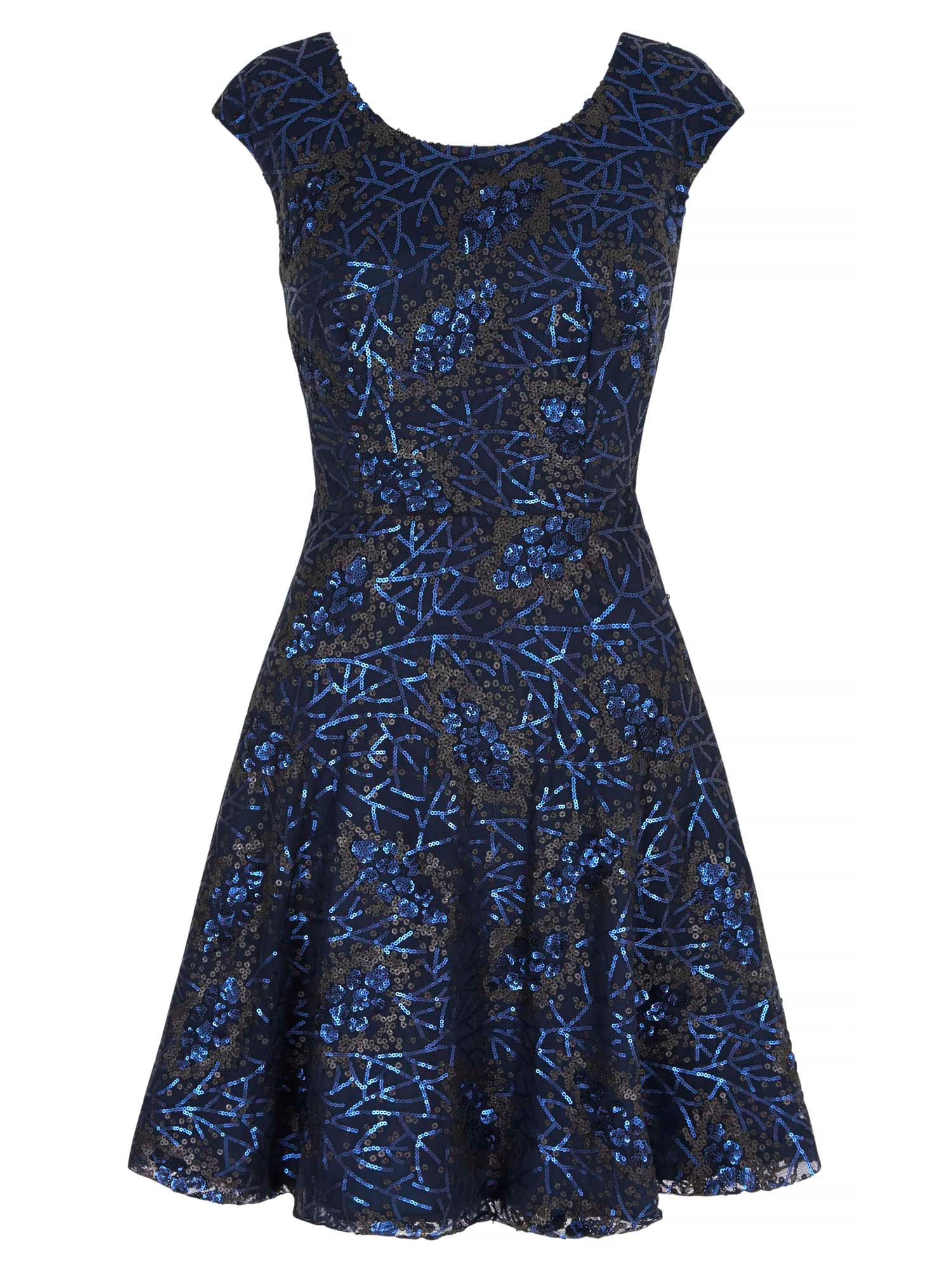 Yumi Sequined Skater Dress, Blue