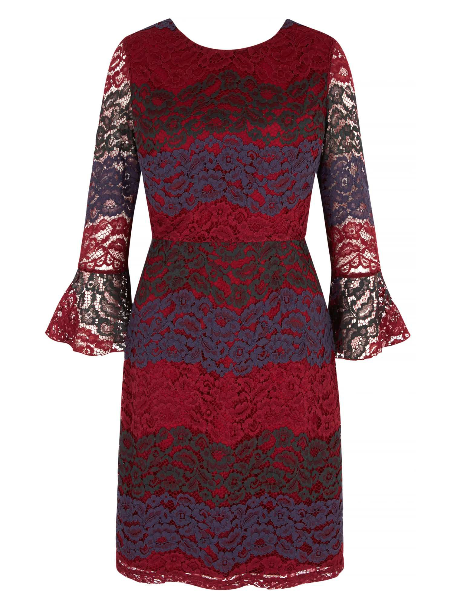 Yumi Vertical Lace Dress, Beet Red