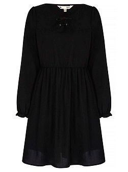 Lace Up Skater Dress With Long Sleeves