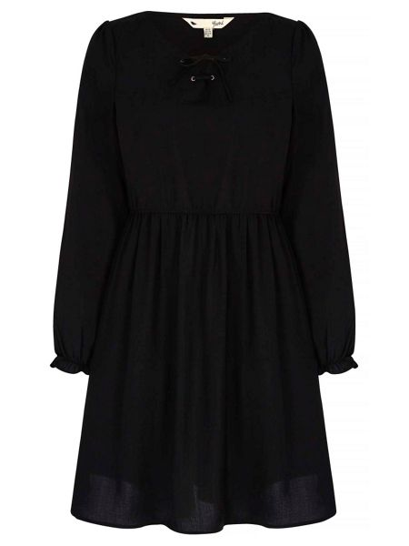 Yumi Lace Up Skater Dress With Long Sleeves