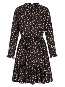 Yumi Floral Printed Long Sleeve Tea Dress