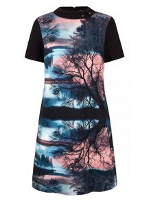 Yumi Sunrise Printed Shift Dress With Collar