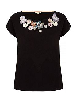 Flower Embellishment Shell Top