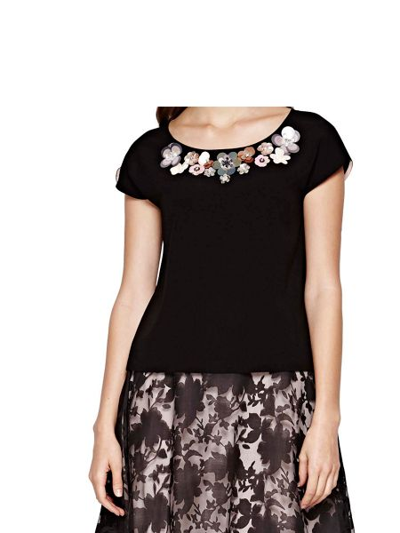 Yumi Flower Embellishment Shell Top