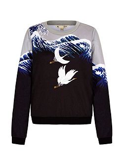 Crane Embroidered Sweatshirt