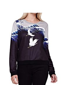 Yumi Crane Embroidered Sweatshirt