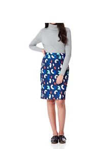 Yumi Brush Stroke Print Pencil Skirt
