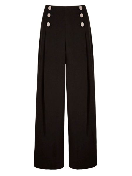 Yumi Wide Leg Metallic Button Trousers