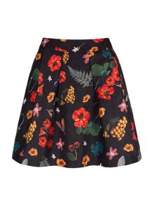 Yumi Botanical Textured Skater Skirt