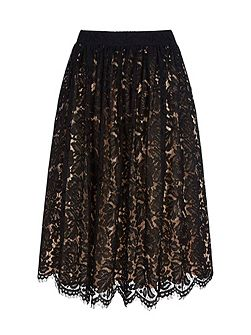 Midi Length Lace Skirt