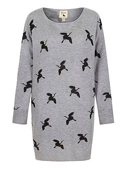 Crane Printed Tunic Jumper Dress
