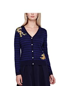 Yumi Stripe Cardigan With Floral Embroidery