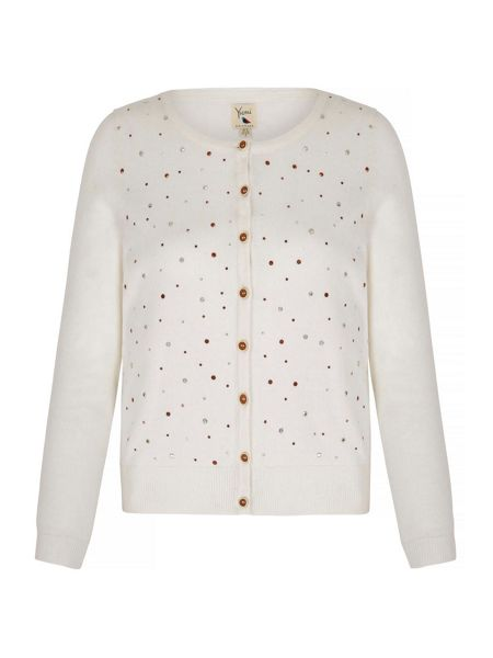Yumi Metallic Cardigan With Embellishments