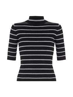 High Neck Jumper with Stripes