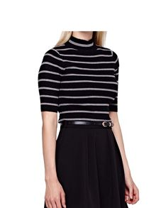 Yumi High Neck Jumper with Stripes