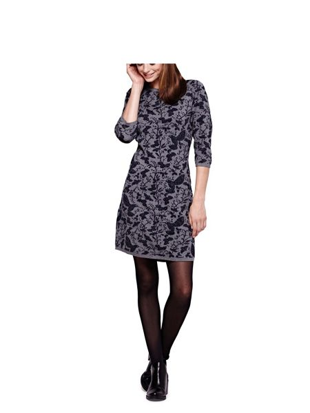 Yumi Bird Printed Knit Dress